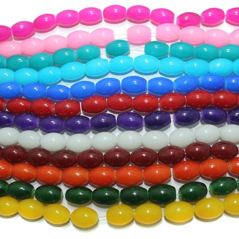 Multicolor Glass Beads Oval 12 Strings of 32 Inch 12x10mm
