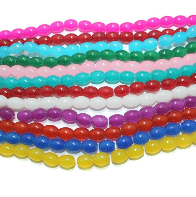 Multicolor Glass Beads Oval 12 Strings of 32 Inch 8x6mm