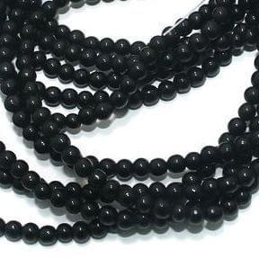 Glass Round Beads Black 4mm 5 Strings