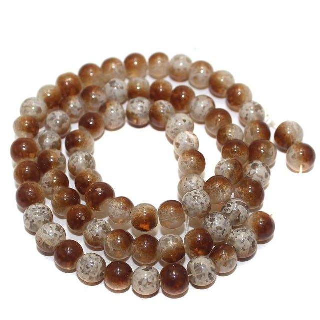 5 Strings Glass Beads Round Brown 6mm