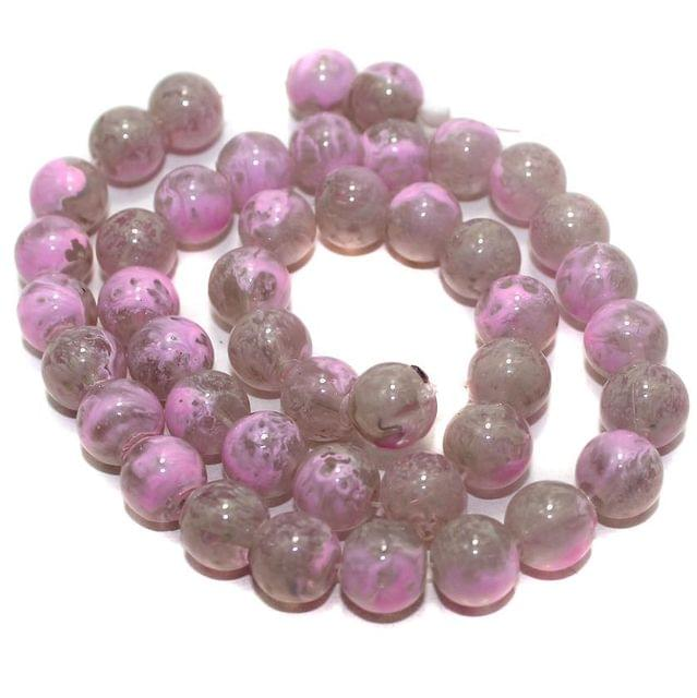 5 Strings Glass Round Beads Light Pink 10mm