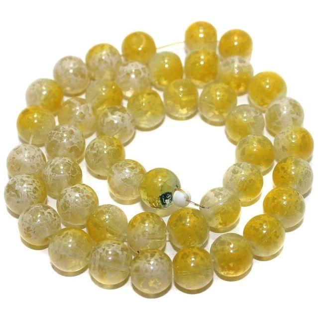 40+ Glass Round Beads Yellow 10mm