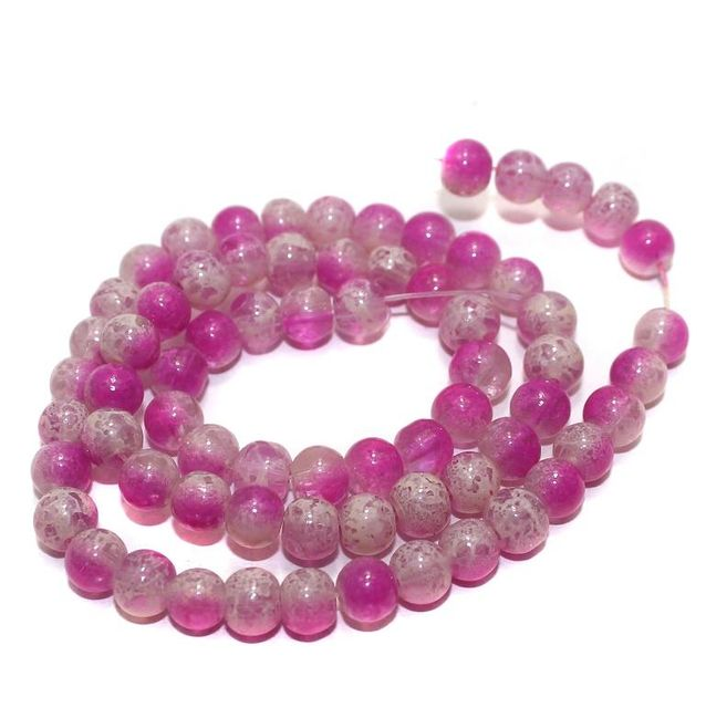 5 Strings Glass Beads Round Pink 6mm