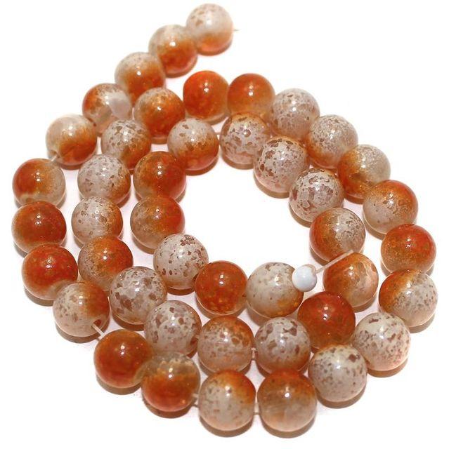 5 Strings Glass Round Beads Orange 10mm