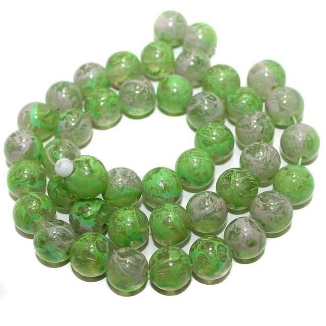 5 Strings Glass Round Beads Peridot 10mm