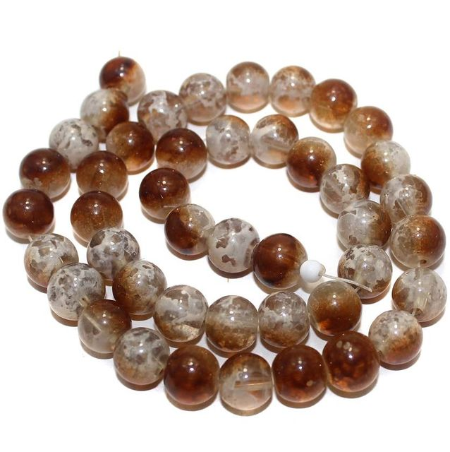 5 Strings Glass Round Beads Brown 10mm