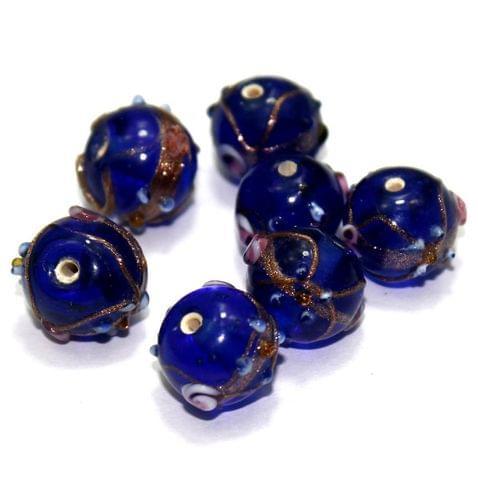 20 Wedding Cake Round Beads Dark Blue 12mm