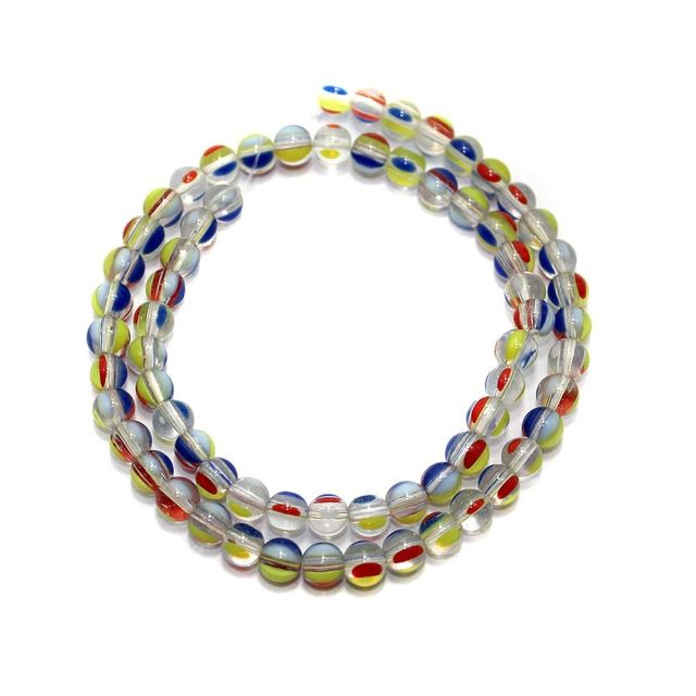 5 strings of Glass Round Beads Multi Color 6mm