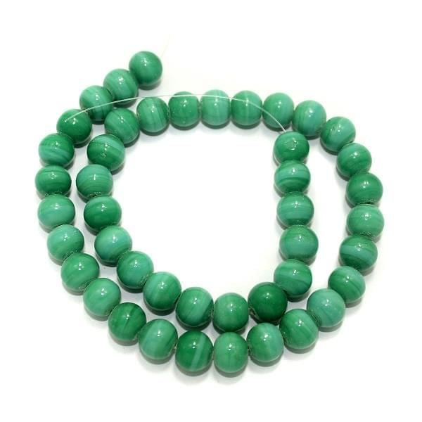 5 Strings Glass Round Beads Opaque Green 8mm