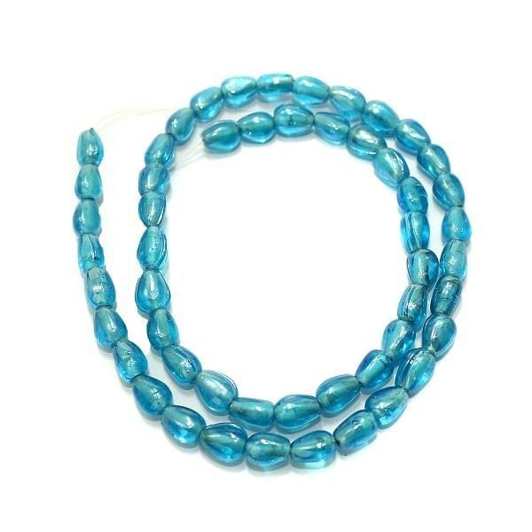 5 Strings Glass Flat Drop Beads Turquoise SP 8x5mm