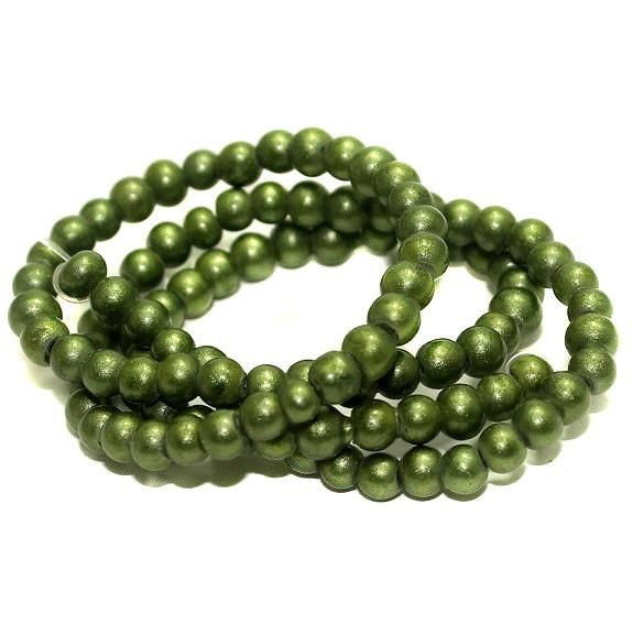 5 strings Disco Beads Round Green 4mm