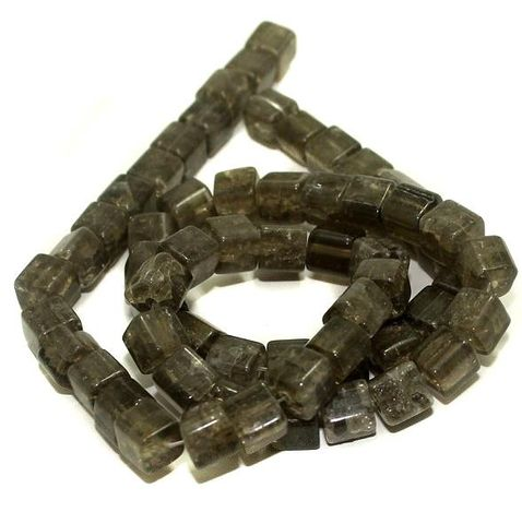 5 strings Crackle Cube Beads Gray 8mm