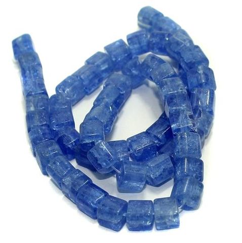 5 strings Crackle Cube Beads Blue 8mm