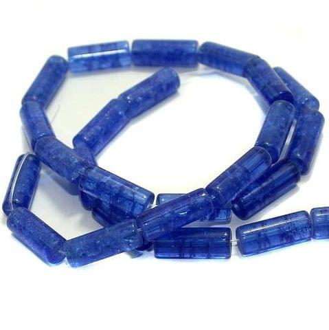 5 strings Crackle Tube Beads Blue 16x6mm