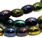 5 strings Glass Oval Beads Black Rainbow 6x3mm