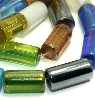 5 strings Glass Tube Beads Assorted Rainbow 16x8mm