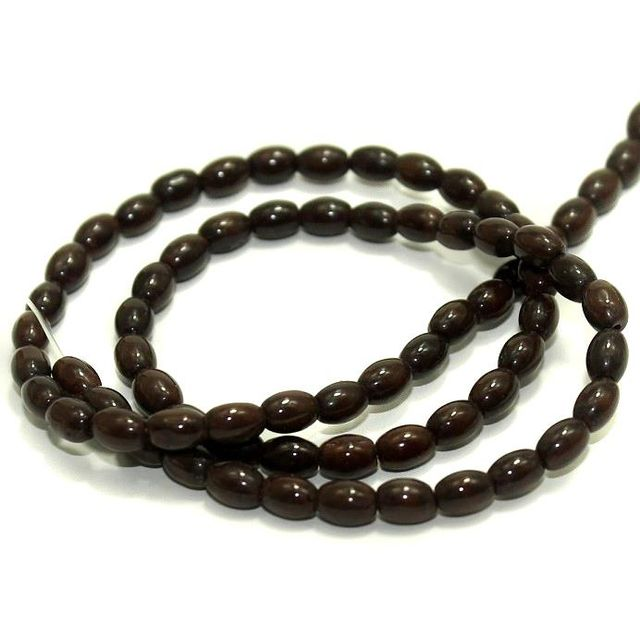 5 strings Glass Oval Beads Brown 6x4mm