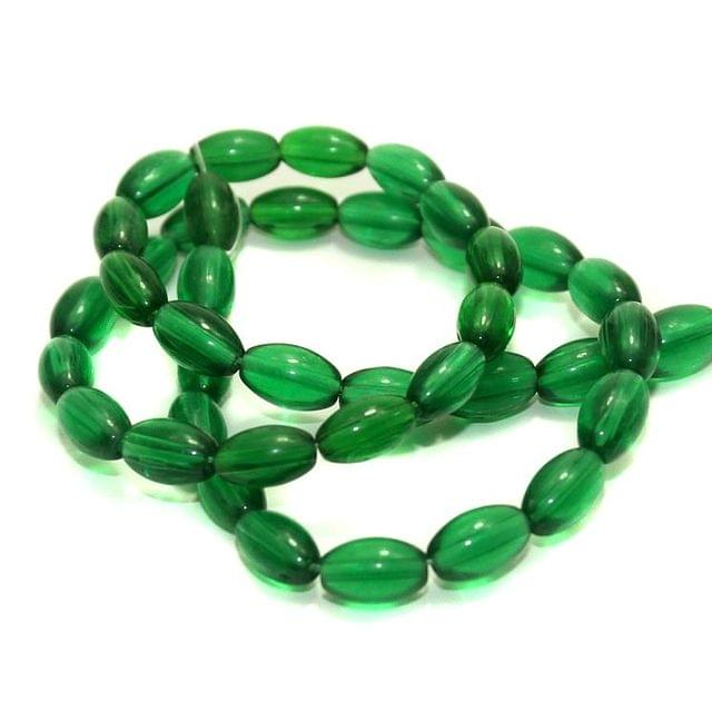 5 strings Glass Oval Beads Green 9x6mm