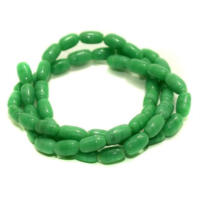 5 strings Glass Oval Beads Green 6x4mm