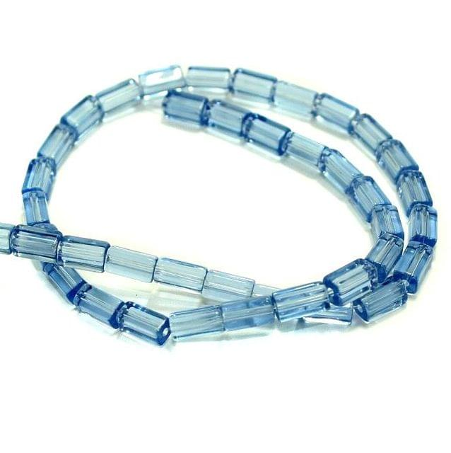 5 strings Glass Rectangular Beads Trans Blue 8x4mm