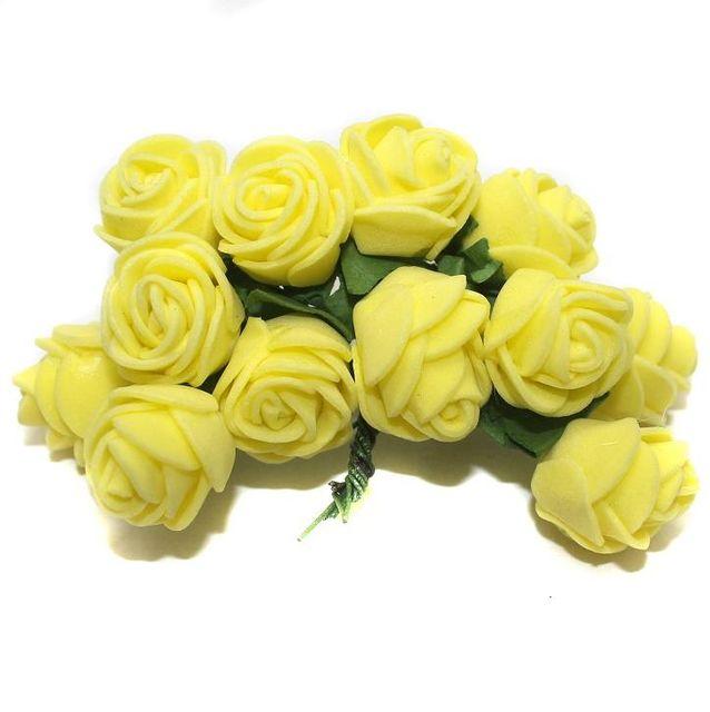 12 Craft Flower Yellow 18x14mm