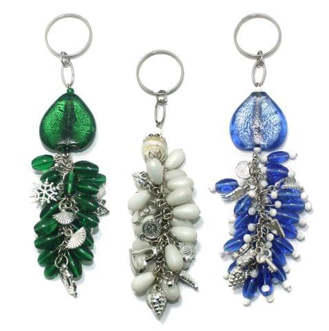3 Pcs. Glass Beads Key Chains Combo MultiColor