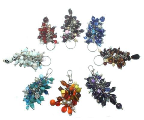 8 Multi Colour Key Rings Combo