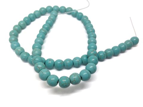 Jewellery Making Synthetic Beads 8mm Round Turquoise Blue (Pack of 2 strings, 50-52 beads/string)