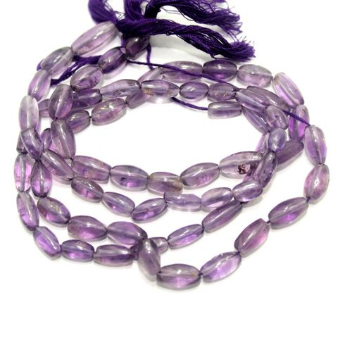 35+ Semiprecious Oval Beads Purple Trans 12X5mm, 1 String