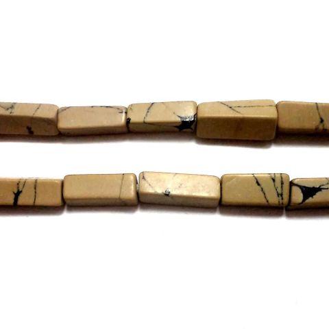2 Strings Howlite Rectangle Beads Coffee 10x4mm