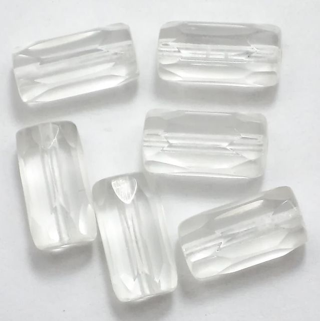 50 Faceted Tube Beads White 15x6mm