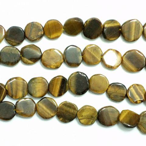 1 Strings Semiprecious Flat Round Beads Tiger Eye 10 mm