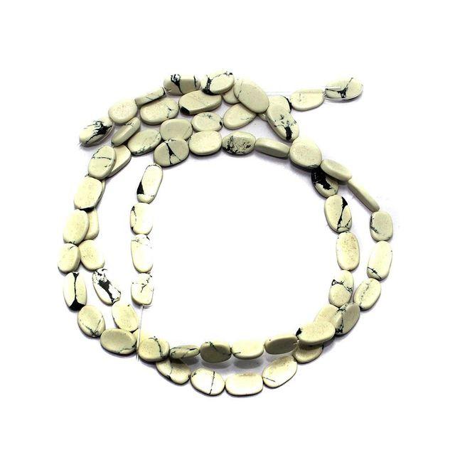 30+ Semiprecious Flat Oval Beads White 10X6 mm