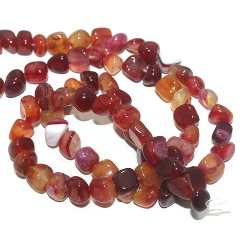 Tumble Onyx Stone Beads Multi Red 9-11 mm, Pack Of 2 Strings