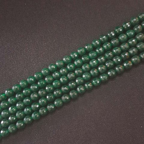 8mm, Green Onyx Round Faceted Strings, 46+ Beads In Each Line, 15 Inch