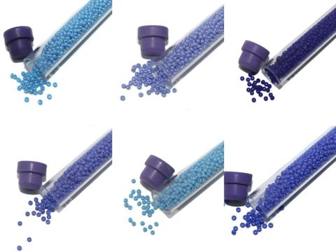 Preciosa seed Beads Opaque Blue 6 Tube DIY Combo, Size 11/0, 1250 Beads/Tube