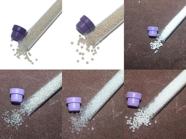 Preciosa seed Beads White & Off White DIY 6 Tube Combo, Size 11/0, 1250 Beads/Tube