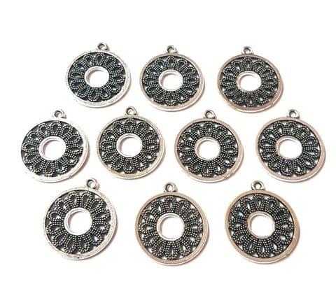 19 pcs, German Silver Charms, 24x21 mm