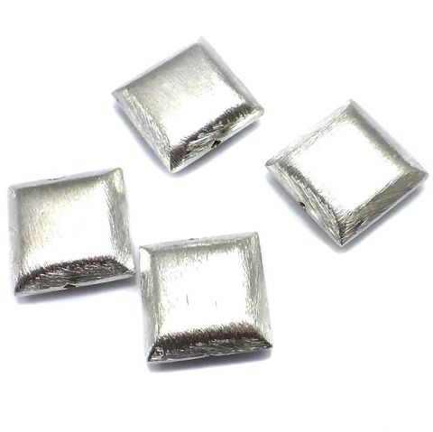 20 German Silver Square Brushed Beads 20mm