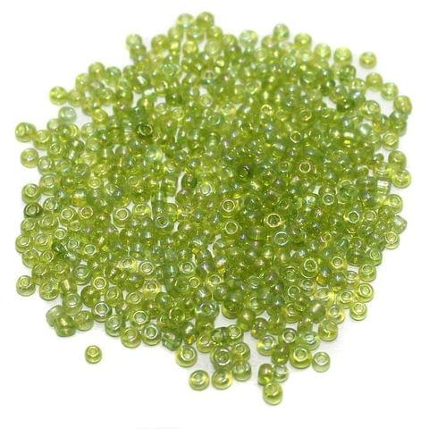 Seed Beads Peridot Green Rainbow (100 Gm), Size 11/0