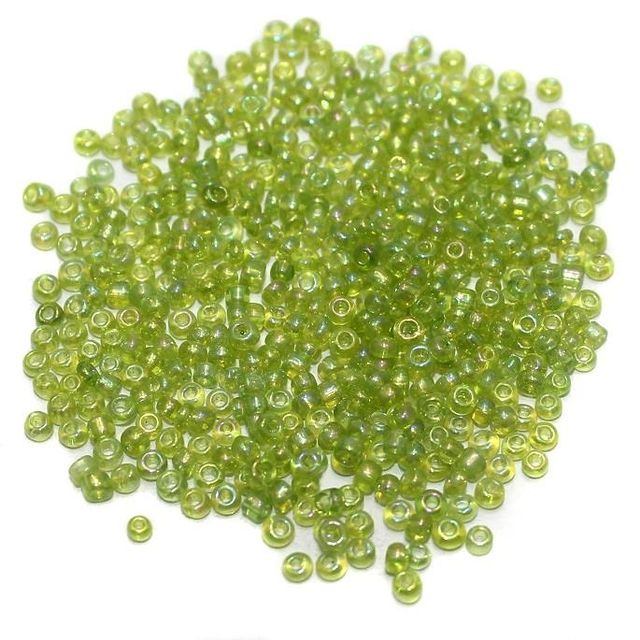 Seed Beads Peridot Green Rainbow (100 Gm), Size 11/0