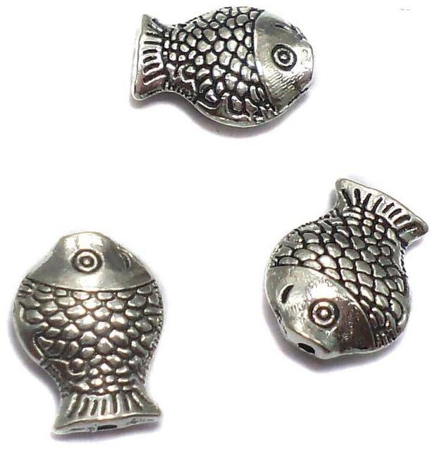 20 German Silver Fish Beads 13x10mm