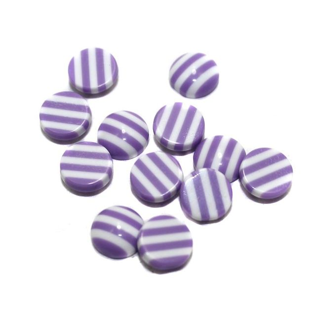 200 Acrylic Cabochon Beads Purple 8mm