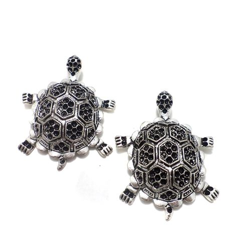 2 Pcs. German Silver Tortoise Pendants 54x40 mm