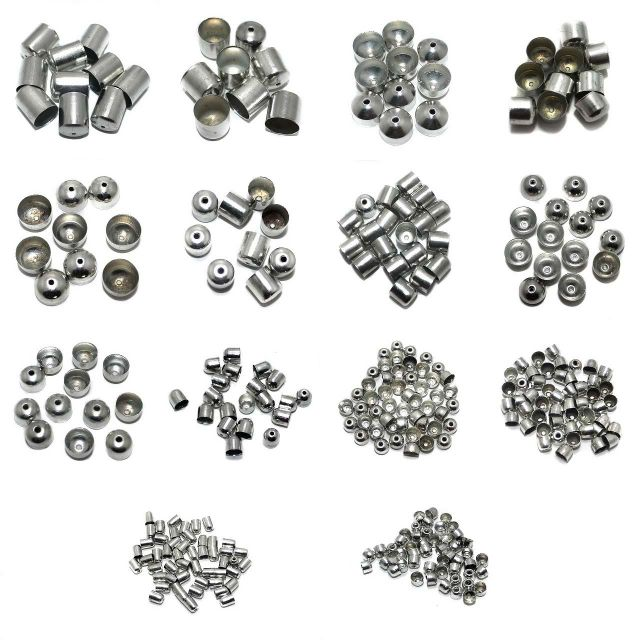Jewellery Making Metal End Caps Silver Combo Pack Of 14 Sizes