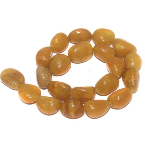 Tumbled Gold Azeztulite Stone Beads 21-18 mm