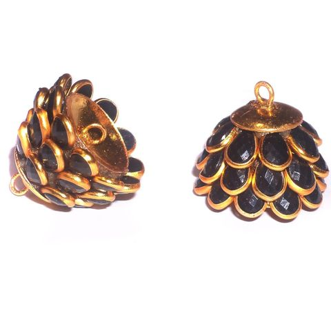 5 Pairs Pacchi Jhumka Opaque Black 14x19 mm