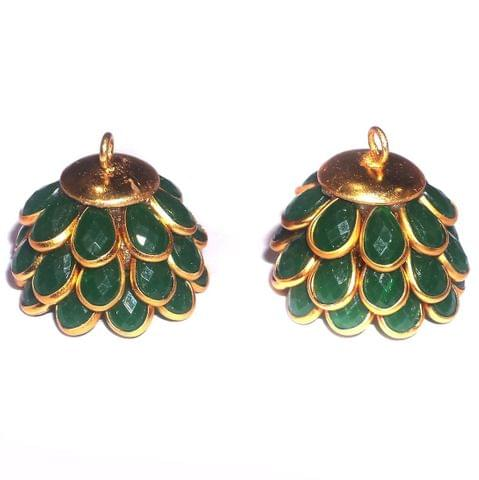 5 Pairs Pacchi Jhumka Opaque Green 14x19 mm