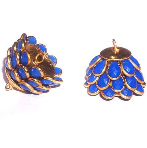 5 Pairs Pacchi Jhumka Opaque Blue 14x19 mm