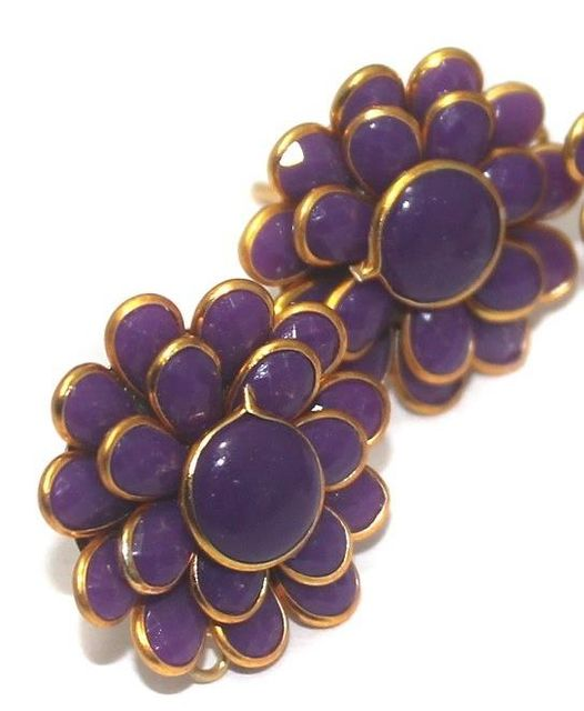 Double Layer PACCHI EARRING PURPLE 20X20 mm